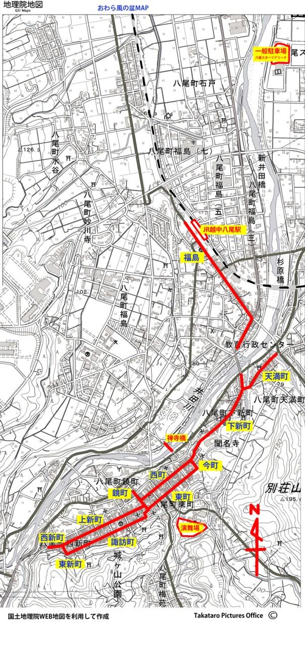 おわら風の盆 地図  kazenobon map