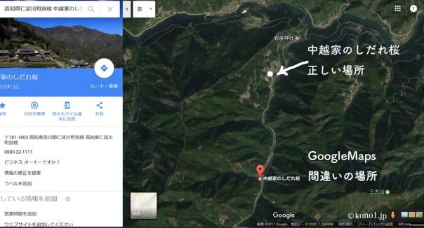 GoogleMaps 中越家のしだれ桜 間違い
