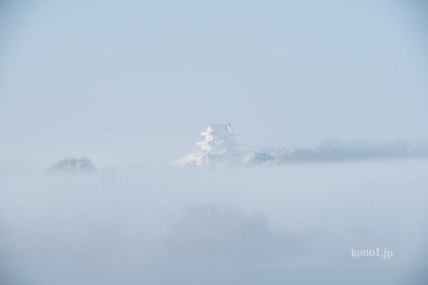 関宿城 雪 霧 絶景