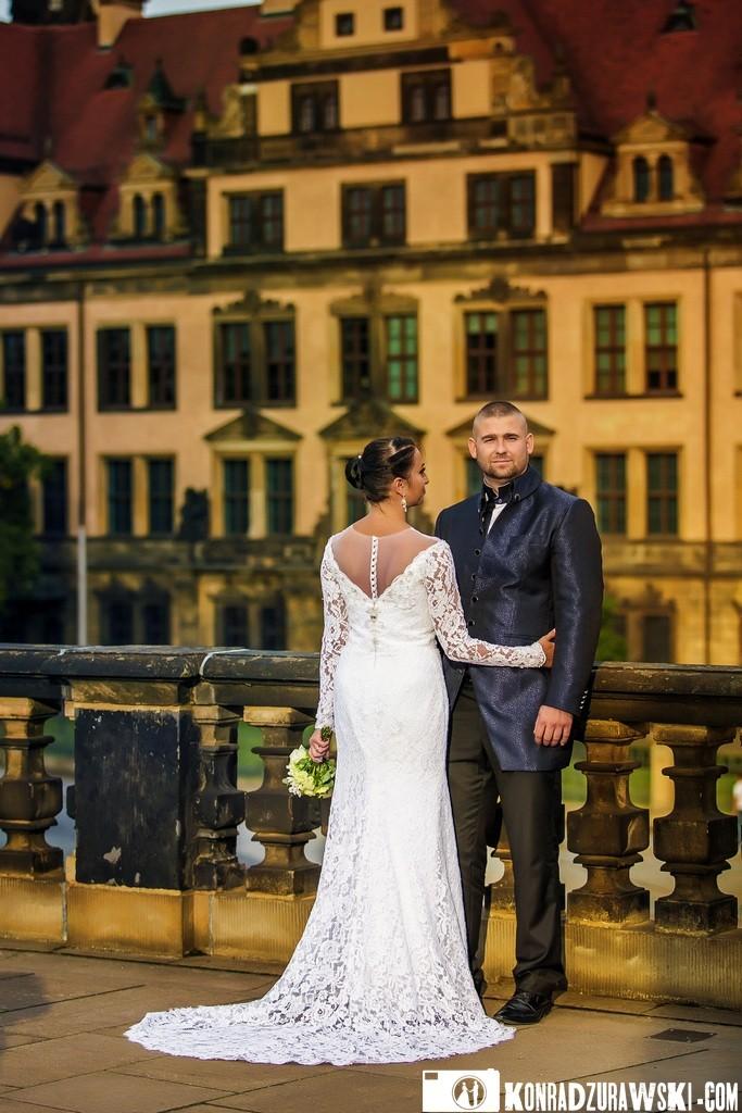Agata i Damian podczas sesji ślubnej w Dreźnie. Fotografia ślubna - Konrad Żurawski