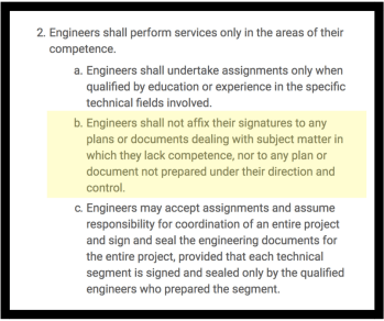 NSPE Code of Ethics Rule of Practice 2.a for Engineers