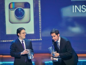 Instagram founders Krieger and Systrom accept their webby breakout of the year awards during 16th annual Webby Awards in New York