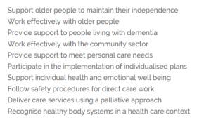 APSI Cert III Aged Care course