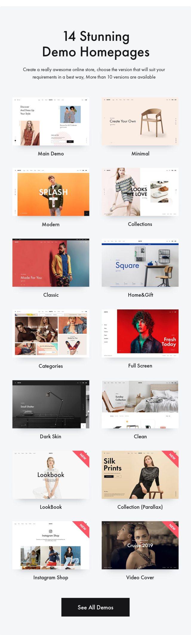 Konte WooCommerce theme - Demos
