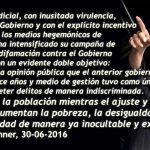 2da Carta de CFK contra el Partido Judicial: «Distraen a la población mientras aumenta la pobreza»