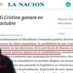 La Nación reveló el pánico del Establishment ante un triunfo de Cristina y ella les contestó con una nota