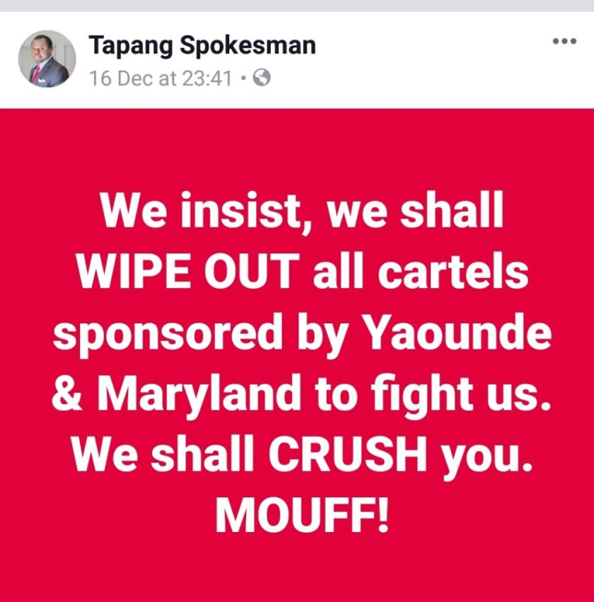 Tapang says.. We will CRUSH you - Mouff!