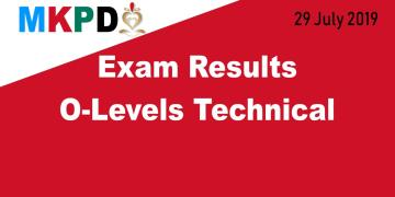 Exam Results O-Levels Technical - 29 July 2019