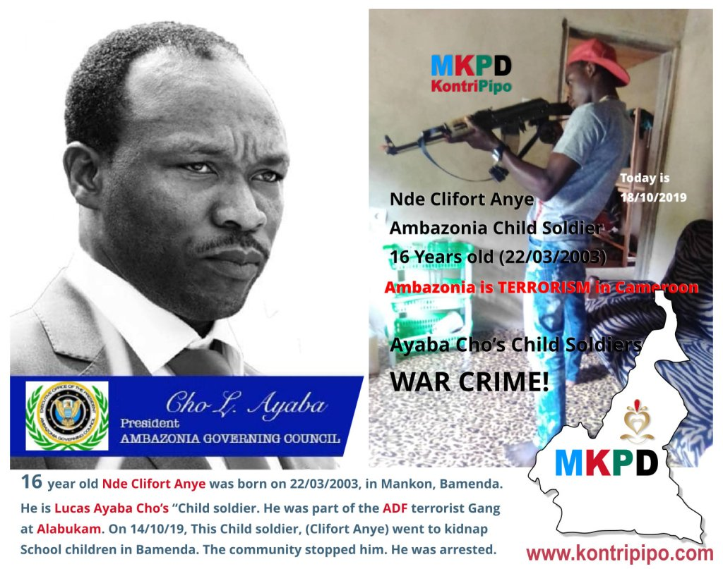 16 years old Nde Cliford Anye is an Ambazonian Terrorist Child soldier by Ayaba Cho Lucas