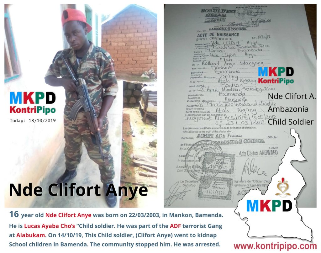 16 years old Nde Cliford Anye is an Ambazonian Terrorist Child soldier