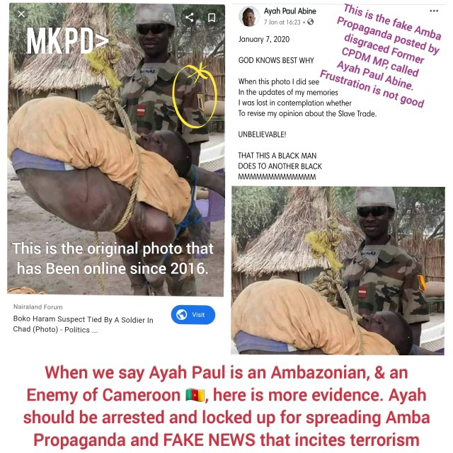 Ayah Paul is an Ambazonian, and an Enemy of Cameroon. Here is the Evidence. They are Faking news to spread online. The Fake news puts the lives of Cameroonians at risk.