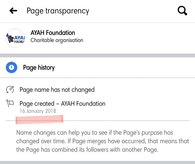 """Ayah """"Foundation"""" was already taking advantage of gullible Cameroonians on Facebook even when the association was not yet registered, in Jan 2018, they called themselves a Charitable organisation, even though they were not registered, and till today, they are an association, not an NGO."""