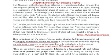 Amba Terrorists attack on schoolchildren- Statement from UN Humanitarian Coordination in Cameroon