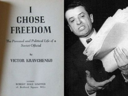 Viktor Kravcsenko és művének angol nyelvű kiadása (forrás: maladype.hu)