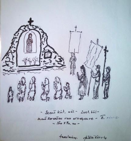 A festő vallásos tárgyú vázlata 2001-ből