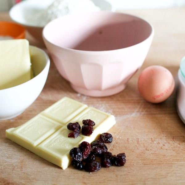 Koekjes met cranberry's en witte chocolade