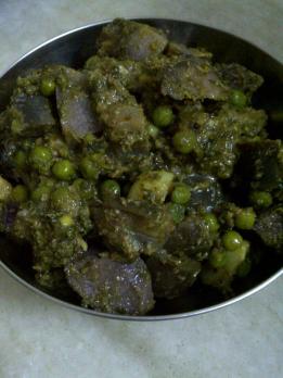 Purple Yam, Aubergine & Green Pea Curry