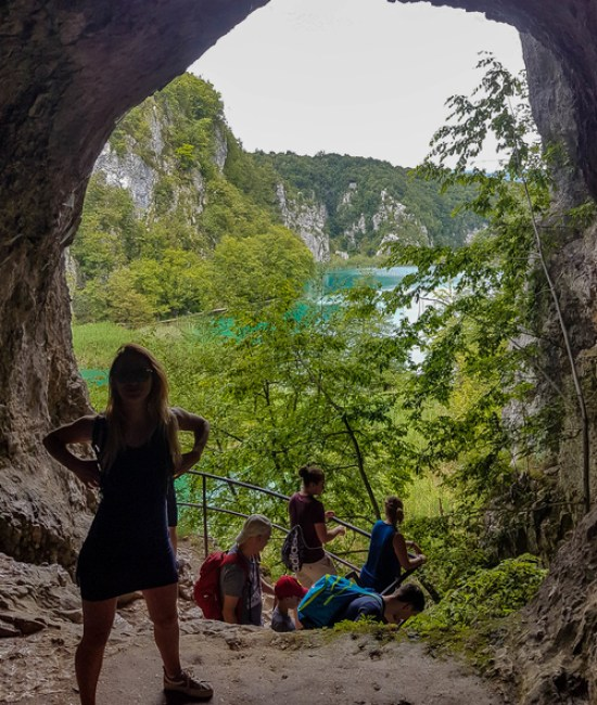 One of the caves in Plitvice Lakes together with the rest of the visitors and tourists