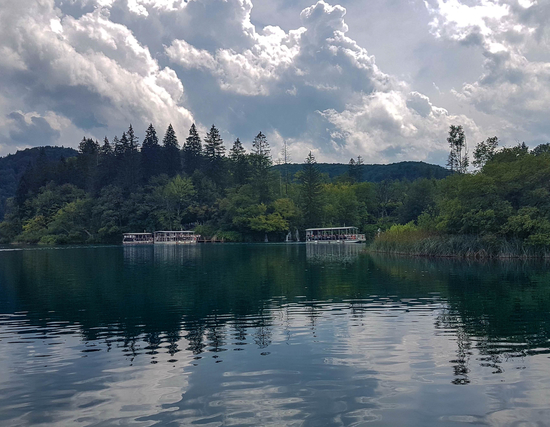 Kozjak Lake and electric boats in Plitvice Lakes National Park