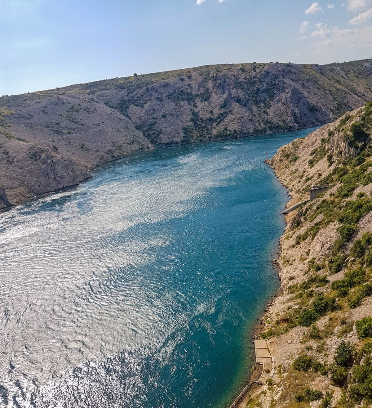 The view opposite from Bungee Jumping platform looking on crystal clear Adriatic sea