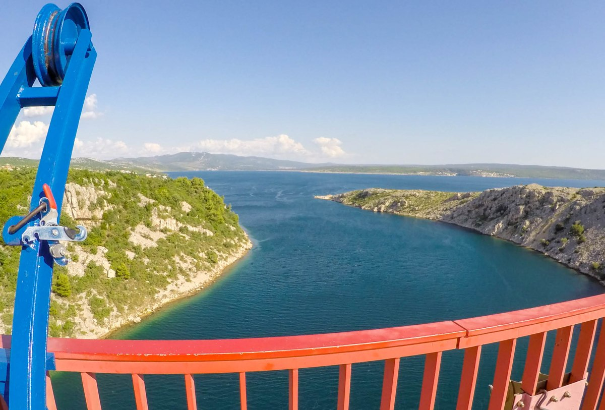Extraordinary view over Adriatic sea and mountains in Croatia from Maslenica bridge and Bungee Jumping platform