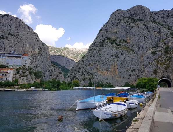 The view on canyon of the river Cetina  and some boats on Adriatic sea