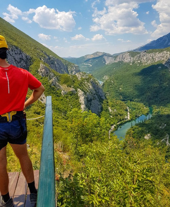 First, the longest (700m) and the scariest wire 150 m above the ground above Cetina river
