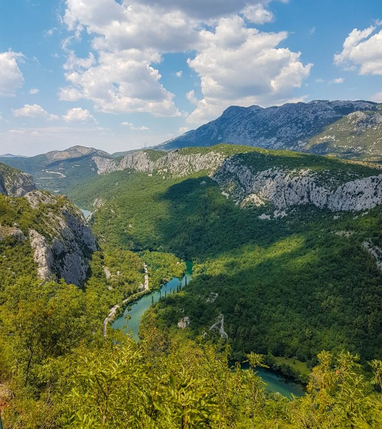 Turquoise river Cetina and surrounding nature looking from a beginning Zipline spot