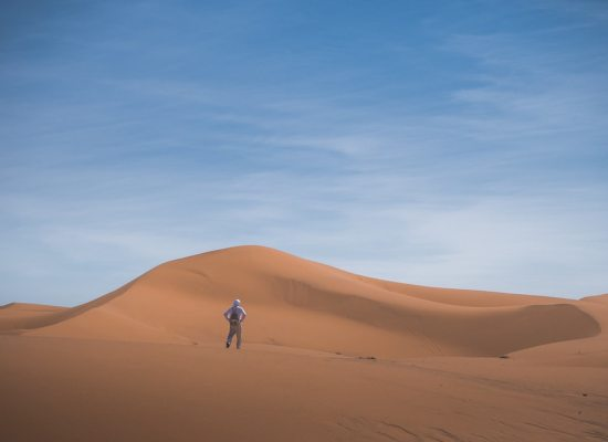 Merzouga and a man alone in Morocco