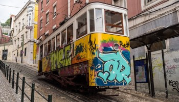Colorful Lisbon tram in Portugal