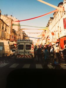Street in Saint-Denis, Paris decorated to celebrate the FA Cup Final