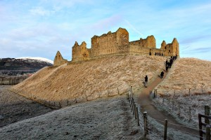 Highland fairytale: looking up at Ruthven Barracks, which is on top of a small hill