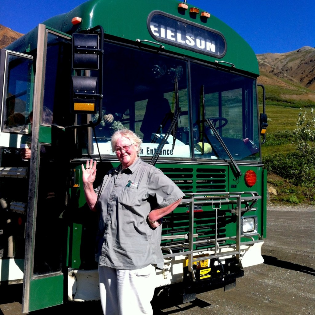 Denali National Park: our bus driver Wendy in front of her bus