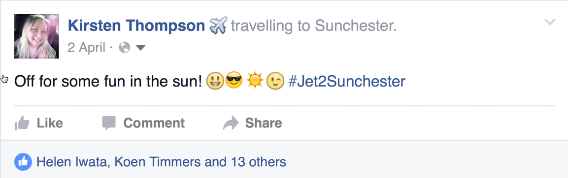 "Facebook update: Kirsten Thompson is travelling to Sunchester. ""Off for some fun in the sun! #Jet2Sunchester"