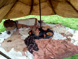 Inside another Roman tent, again animal skins were used to carpet the floor