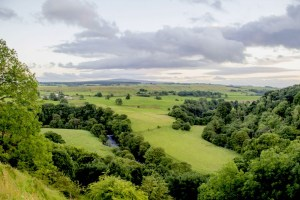 View of the green landscape surrounding Birdoswald Roman Fort.