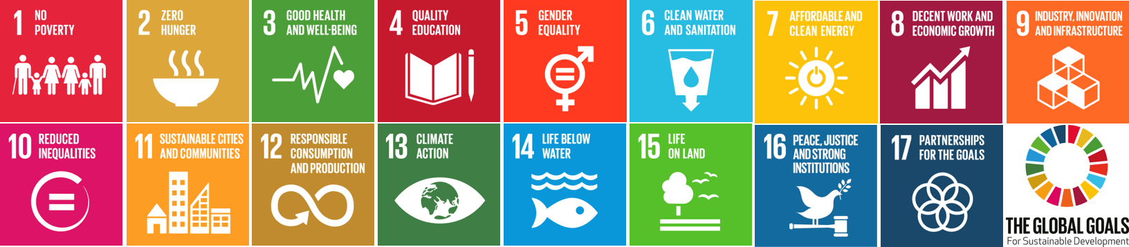 The Global Goals: 1 No poverty 2 Zero hunger 3 Good health and wellbeing 4 Quality education 5 Gender equality 6 Clean water and sanitation 7 Affordable and clean energy 8 Decent work and economic growth 9 Industry, innovation and infrastructure 10 Reduced inequalities 11 Sustainable cities and communities 12 Responsible consumption and production 13 Climate action 14 Life below water 15 Life on land 16 Peace, justice and strong instiutions 17 Partnerships for the goals.