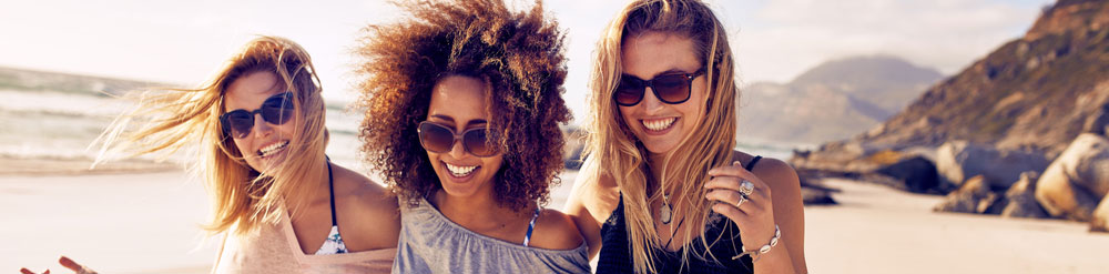 Laughing Girls on Beach