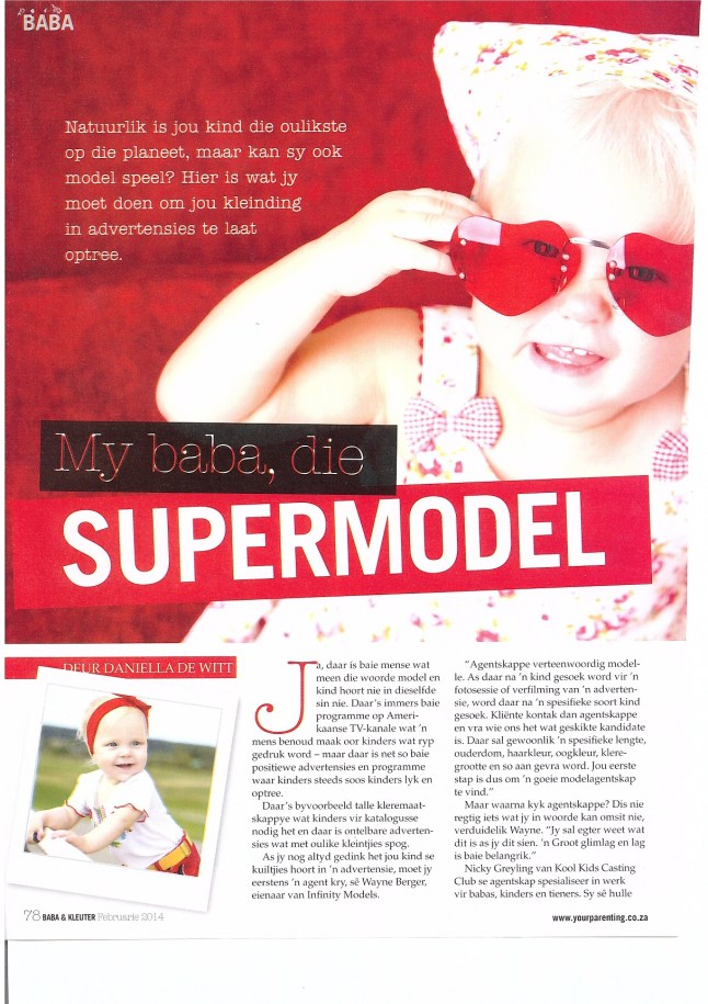 Baba en Kleuter Magazine Feb 2014 Article on Casting Industry Featuring Kool Kids P2