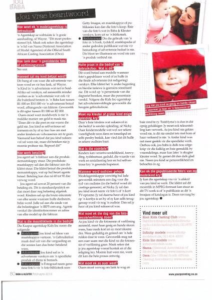 Baba en Kleuter Magazine Feb 2014 Article on Casting Industry Featuring Kool Kids P4