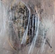 Acryl auf Leinwand, in Schichten foliert, angeschmolzen foliert, teilw