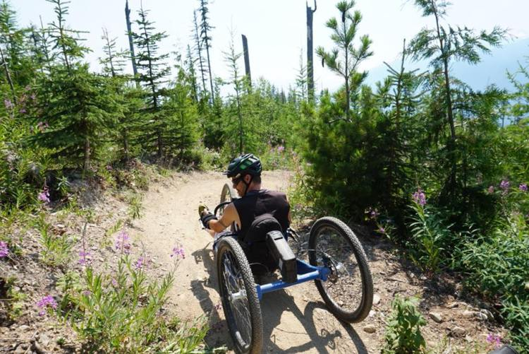 Off Road Hand-cycle rider in the West Kootenays
