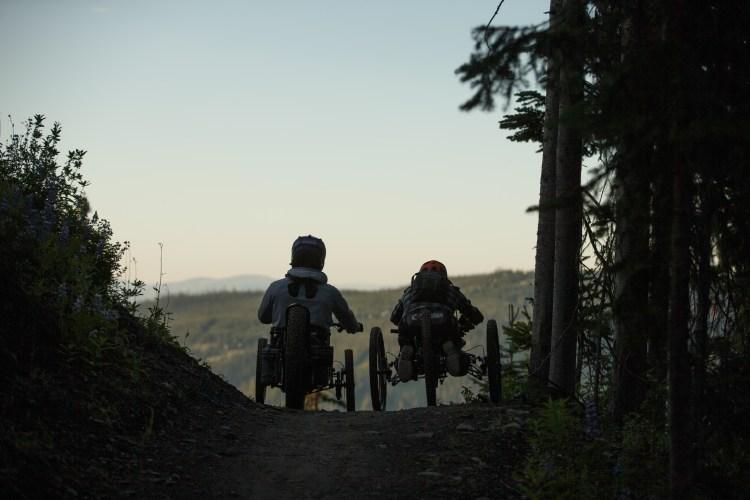 Adaptive mountain bikers Josh Dueck and Cole Bernier with Kootenay Adaptive at Sun Peaks