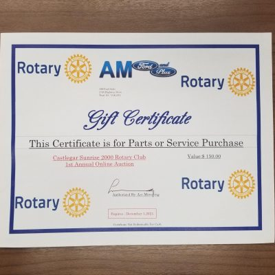 AM Ford Gift Certificate and Safetivity Golf Cart Shield