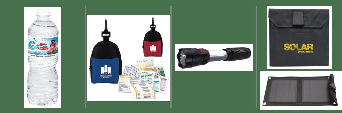 40330 Bottled Water, 41061 First Aid Kit, 21212 COB Flashlight Lantern, 32143 Solar Charger