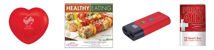 #40259 Heart Stress Ball • #1301 Healthy Eating Calendar • #31403 Ribbon Badge Holder • #20623 Better Book: First Aid
