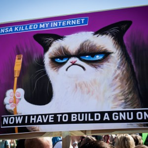 NSA killed the Internet. Now I have to build a GNU one. (Motiv der Piraten auf testspiel.de)