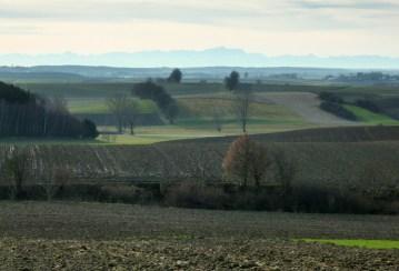 Blick über das tertiäre Hügelland Richtung Zugspitze
