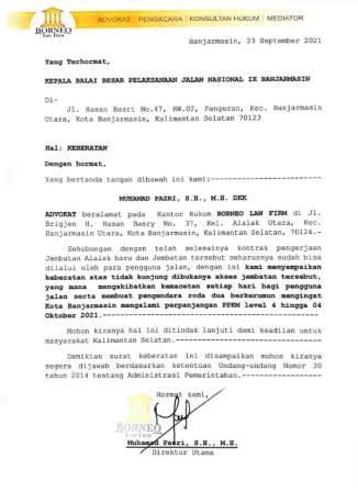 SURAT - Surat keberatan BLF Kalsel.