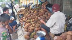 Pedagang buah cimpedak di Kota Banjarmasin, Sabtu, (11/9/2021). (foto: leon)